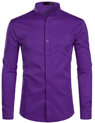 (ZEROYAA Men's Banded Collar Slim Fit Long Sleeve Casual Button Down Dress Shirts with Pocket ZLCL09 Purple XX-Large)