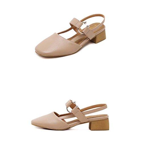 SHEO sandalias de tacón alto La Sra. Baotou cabeza cuadrada con una pequeña hebilla con sandalias gruesas Pink
