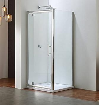 Cabina de ducha wellbad 90 x 90 h: 190 cm esquina ducha con 6 mm grosor de cristal perfiles cromo, pivot Puerta con aspecto pared: Amazon.es: Bricolaje y herramientas