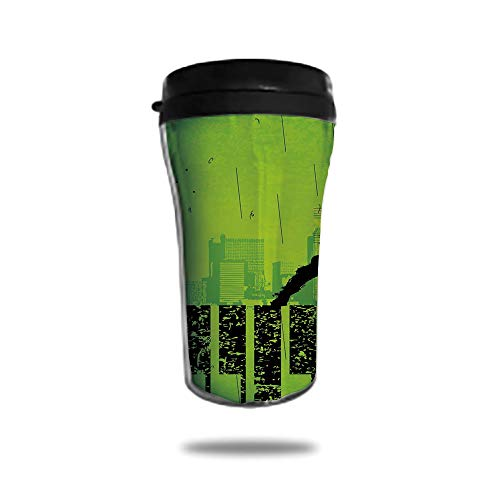 Travel Coffee Mug 3D Printed Portable Vacuum Cup,Insulated Tea Cup Water Bottle Tumblers for Drinking with Lid 8.45 OZ(250 ml)by,Popstar Party,Music in the City Theme Singer with Electric Guitar on -