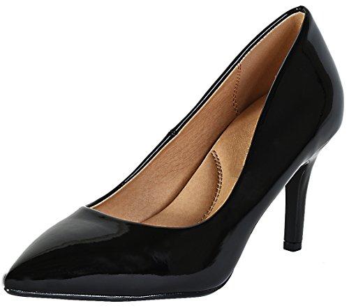 Cambridge Select Dames Klassiek Gesloten Puntige Neus Gevoerde Comfortabele Binnenzool Stiletto Middelhoge Pump Zwart Patent