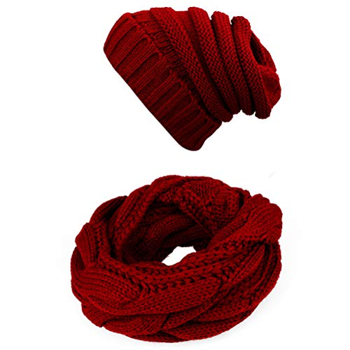 Knit Infinity Scarf Beanie Hat Set Women Winter Circle Loop Scarfs Scarves (Burgundy)