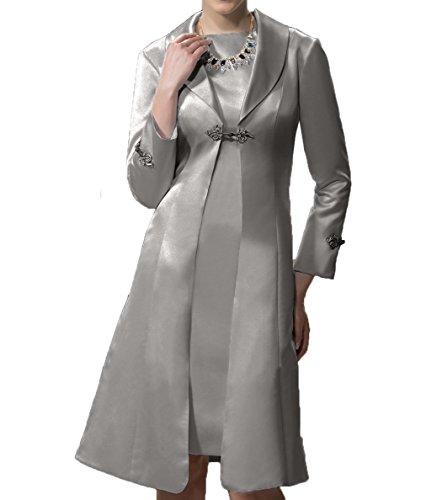 Langarm Grau Satin Partykleider Festlichkleider Damen Brautmutterkleider Charmant Ballkleider Abendkleider Etuikleider gEWx6q75zP