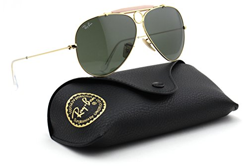 Ray-Ban RB3138 SHOOTER Unisex Aviator Sunglasses (Gold Frame / Green Lens 001, - Ban Wayfarer Gold Ray