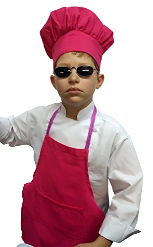 Small Children Kids Hot Pink Fuchsia Chef Set Apron & Adjustable Hat Quality Lite (Pink Gift Set Apron)