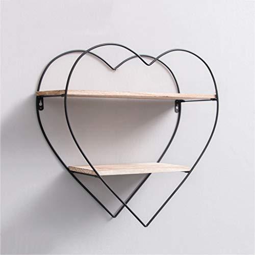 - LIZHIQIANG Heart-Shaped Wrought Iron 2 Tier Floating Shelves Diamond Shelf Wall Shelf Wooden Bookshelf Floating Wood Shelves Shelving,Black