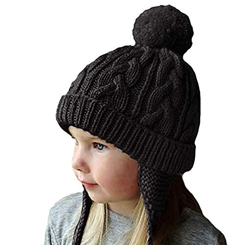 ITODA Kids Beanie Hat with Ear Flap Knitted Warmer Slouchy Toddler Boy Girl Soft Cap