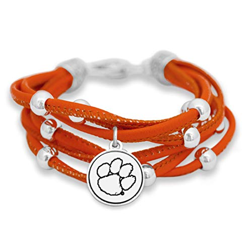 - FTH Clemson Tigers Leather Strand Bracelet with Logo and Lobster Clasp