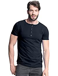 Men's Casual Short Sleeve Shirts Button V Neck Solid Color Tee Slim Tops