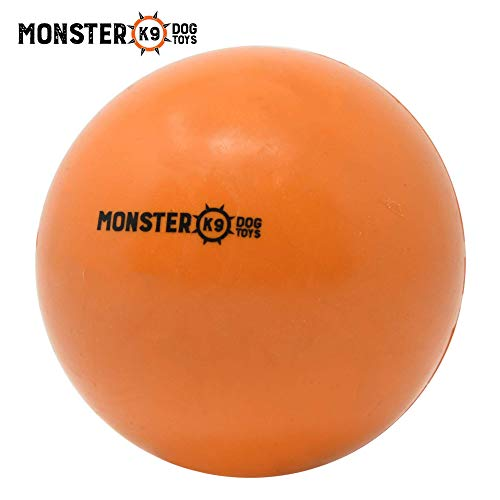 Indestructible Dog Ball - Lifetime Replacement Guarantee! - Tough Strong, 100% Non-Toxic Chew Toy, Natural Rubber Baseball-Sized Bouncy Dog Ball for Aggressive Chewers and Large Dogs