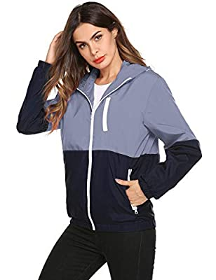 Romanstii Lightweight Packable Hooded Jacke Women Short Bomber Jacket Biker Coat