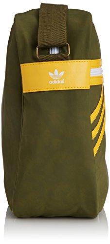 adidas Unisex Umhängetaschen Originals Airliner Suede, 12 x 38 x 28 cm, 13 Liter Olive Cargo S15-St/Bold Gold