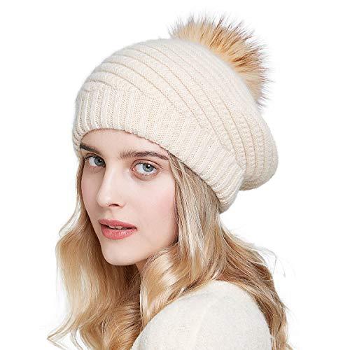 Women Winter French Beret Hats Real Fur Pom Pom Wool Warm Berets Soft Lightweight Casual Hat (For Fur Casual Women Winter Hat)