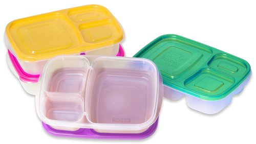 "EasyLunchboxes 3-compartment Bento Lunch Box Containers ""BRIGHTS"" (Set of 4). BPA-Free. Easy-Open Lids (Not Leakproof)"