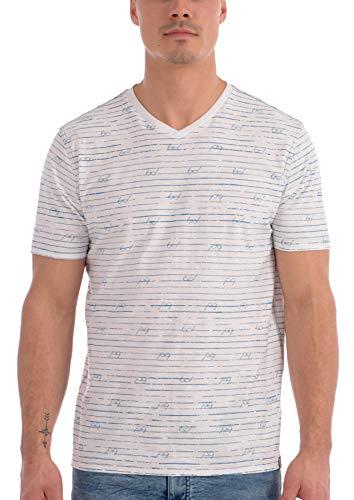 Projek Raw Men's 100% Cotton V Neck with Allover Eyeglass Print (White, ()