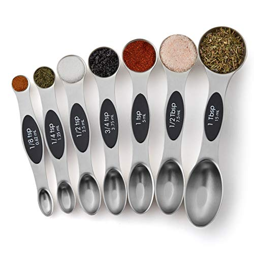 Spring Chef Magnetic Measuring Spoons Set, Dual Sided, Stainless Steel, Fits in Spice Jars, Set of 7