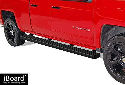 APS iBoard Running Boards (Nerf Bars | Side Steps) for 2007-2018 Chevy Silverado GMC Sierra Double Cab/Extended Cab 6.5ft Bed & 2019 2500 HD / 3500 HD | (Black Powder Coated 5 inches Wheet to Wheel)