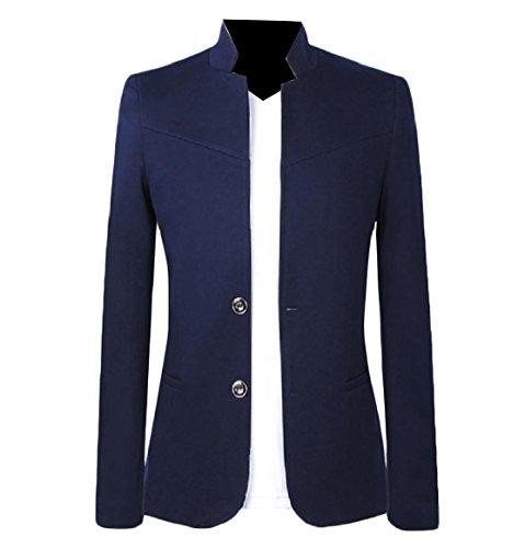 Mandarin Collar Blazer - Comaba Men's Mandarin Collar 2 Button Tux Blazer Wedding Business Suit Navy Blue 4XL