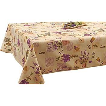 EasyNappes Tablecloth Lotus White Rectangular 60x80 inch Anti-Stain