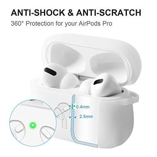 Étui AirPods Pro, Housse Antichoc avec Mousqueton, AMIGIK Coque de Protection en Silicone Épais 2.5MM pour Boîtier de Charge Apple AirPods Pro - LED Visible, Anti-Rayures(Translucide)