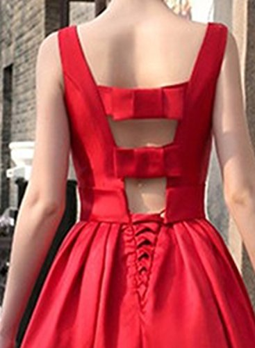 Azbro Women's Elegant Sleeveless Backless Prom Wedding Dress, Red S