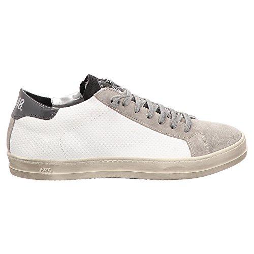 P448 Zapatillas de Piel Para Hombre Blanco Blanco