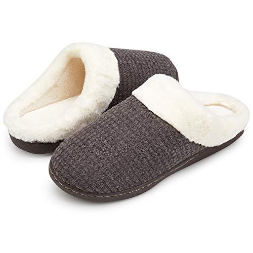 VIFUUR Women's Indoor Slippers House Comfort Memory Foam Plush Anti-Slip Slipper Outdoor Shoes Khaki Gray-42/43 by VIFUUR