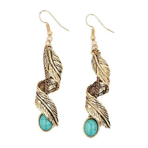 ian Turquoise Antique Silver/Gold Tribal Fringe Dangle Earrings (Twist Leaf-Antique Gold) ()