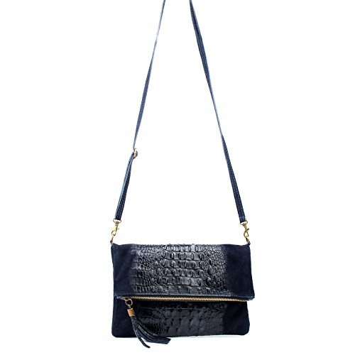 Leather Real Wedding Black Bag Occasion Clutch Envelope Suede Croc Bag Shoulder Aossta Bag 5gZn85
