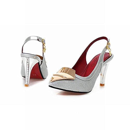 Charm Foot Summer Mujeres High Heel Mary Jane Zapatos De Bombas Sandalia Plateada