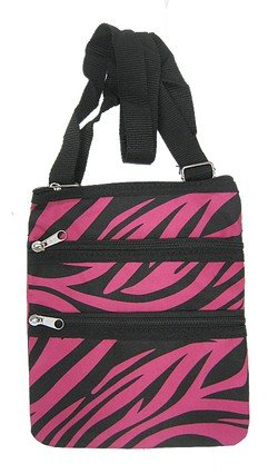 N.Gil Zebra Crossbody Swingpack Bag - Pink and Black