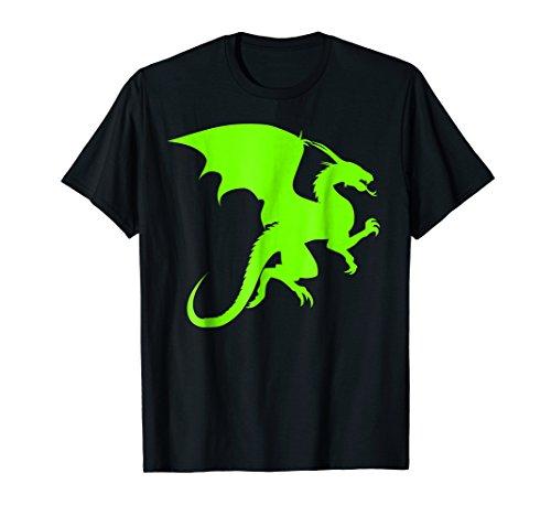 Mens Dragon Silhouette   Neon Green Shirt 2XL Black (Neon Dragon)