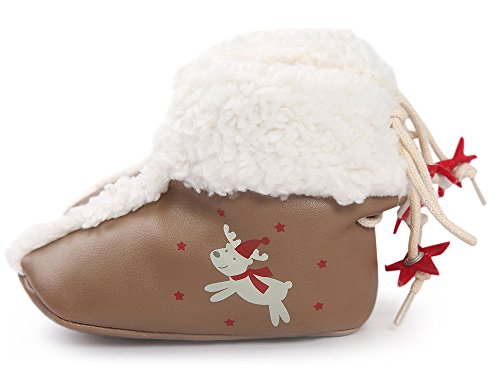 Doris Kids Baby Christmas Reindeer Shoes Soft Sole Anti Slip Prewalker Wool Boots 11 CM
