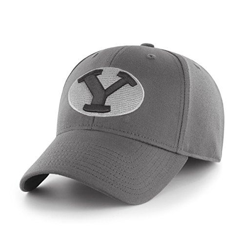 OTS NCAA Byu Cougars Comer Center Stretch Fit Hat, Charcoal, Large/X-Large