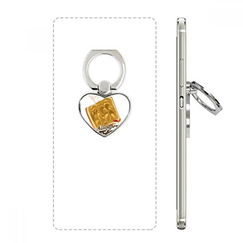 Traditional Singapore Kaya Toast Heart Cell Phone Ring Stand Holder Bracket Universal Support Gift