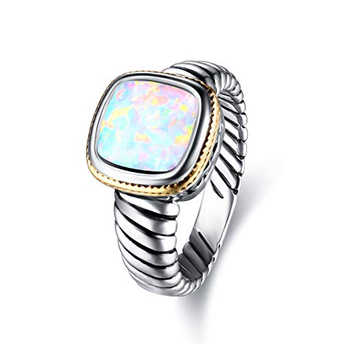 Barzel Rhodium Plated Created Opal & Turquoise Rings (White Fire Opal, 7) ()