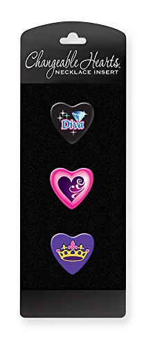 Jewelry Diva Gifts (Dimension 9 Changeable Hearts Personalized Heart Pendant Necklace Inserts (3-Pack) - Diamond Diva, Purple Heart and Princess Crown)