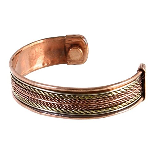 Earth Therapy, The Original Pure Copper Magnetic Healing Bracelet for Arthritis, Carpal Tunnel, and Joint Pain Relief – Thick Cuff Rope Inlay Style – Adjustable - For Men and ()