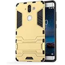 Nokia 8 Sirocco Case, TopACE Slim Robot Armor Stand Shockproof Hybrid Rugged Rubber Hard back Case for Nokia 9 / Nokia 8 Sirocco (Gold)