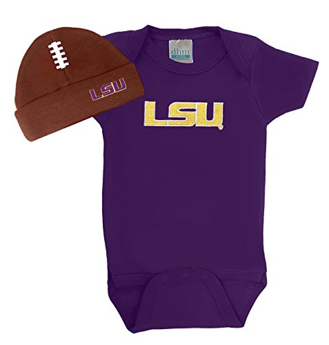 Future Tailgater LSU Tigers Baby Onesie and Football Hat Set (Newborn)