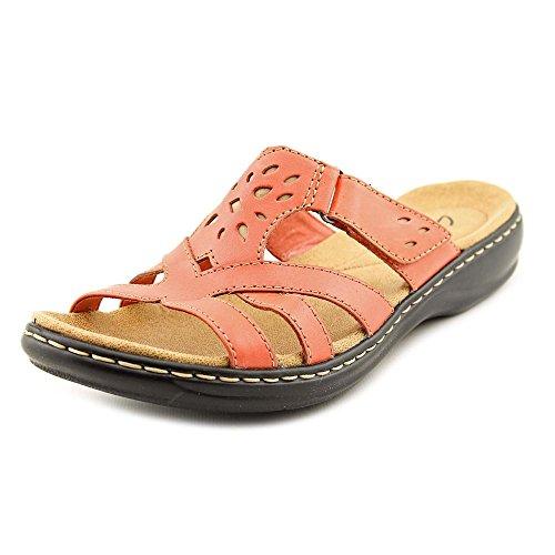 (CLARKS Women's Leisa Plum Slides Coral Sandal 26069247 (Womens)