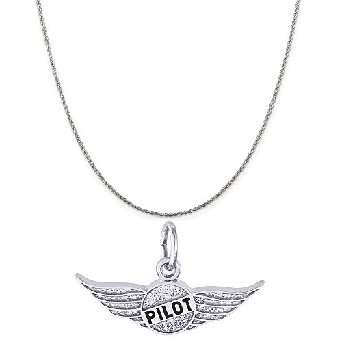 (Rembrandt Charms Sterling Silver Pilot's Wings Charm on a Sterling Silver Rope Chain Necklace, 16