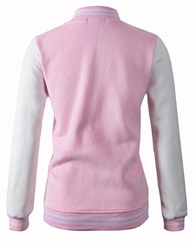 Review Benibos Women Varsity Jacket Casual Loose Hoodie (US:S/Tag L, Pink)