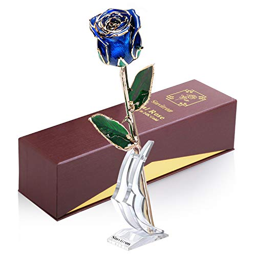 Sinvitron Gold Dipped Rose, Long Sterm Real Rose Dipped in 24K Gold with Stand & Gift Box, Ideal Gift for Valentines's Day/Wedding Anniversary/Mother's Day/Birthday/Christmas for her (Blue Bud) (Flowers For Valentines Day Other Than Roses)