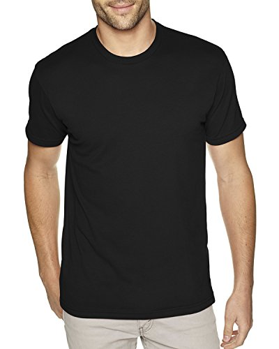 Next Level Men's Premium Fitted Sueded Crew, Blk, Large