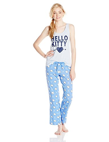 Blue Hello Kitty (Hello Kitty Juniors Pajama Set Tank Top & Pants Friends Forever (Large))