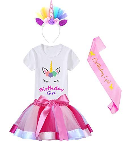 HBeatific Little Girls Layered Tulle Rainbow Tutu Skirt with Unicorn T-Shirt,Headband and Birthday Sash (Birthday-Rose, S,2-3 T) ()