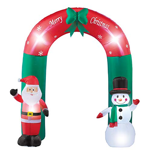 (Collections Etc Inflatable Christmas Welcome Arch with Lighted Snowman and Santa - 6 Foot Outdoor Yard Decoration)