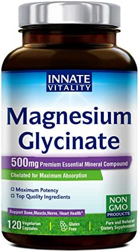 Magnesium Glycinate 500mg per Caps, 120 Veggie Caps, 100% Chelated for Maximum Absorption, Non-GMO, Gluten Dairy & Soy Free, Supports Muscle, Bone, and Nerves Health, Stress Relief & Sleep