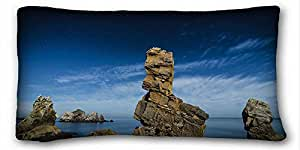 Custom ( Nature Sea Ocean Stars Rocks Stones Ocean Night ) Custom Zippered Pillow Case 20x36 inches(one sides) from Surprise you suitable for Twin-bed PC-White-25583